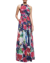 Phoebe Couture Sleeveless Floral Print Ball Gown