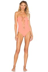 Indah Pip Lace Up One Piece Coral