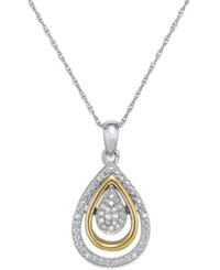 Mjj Diamond Teardrop Pendant In 14K Gold And Sterling Silver 1 10 Ct. T.W.