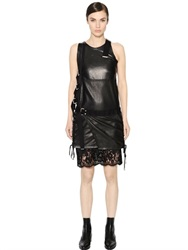 Diesel Black Gold Leather And Lace Dress With Buckles