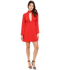 Jill Stuart Short Crepe Dress With Long Sleeves And Deep V Apple Red Women's Dress