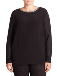 Basler Plus Size Glitter Trim Tee Black