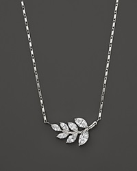 Bloomingdale's Diamond Leaf Pendant Necklace In 14K White Gold .70 Ct. T.W.