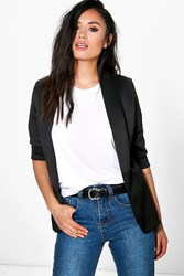 Boohoo Scuba Collared Blazer Black