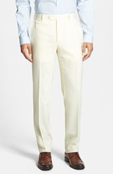 Santorelli Men's Big And Tall Flat Front Travel Trousers Cream