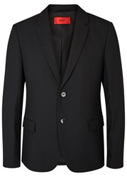 Hugo Ander Black Faux Leather Trimmed Blazer
