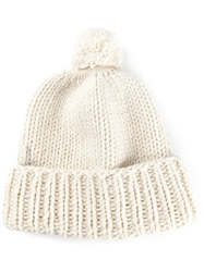 Liska Bobble Top Beanie White