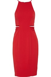 Badgley Mischka Cutout Stretch Crepe Dress Red