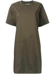 Muveil Plain T Shirt Dress Green