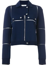 Courra Ges Panelled Biker Jacket Blue