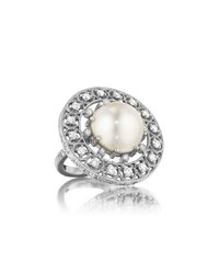 Penny Preville 18K White Gold Diamond And Mabe Pearl Ring Women's