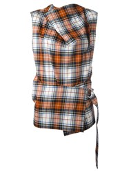 Cedric Charlier Checked Sleeveless Blouse Red