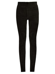 Isabel Marant High Rise Skinny Leg Suede Trousers Black