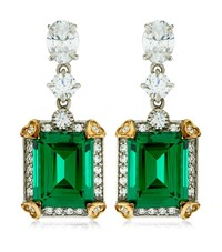 Carat 4Ct Emerald Cut Drop Earrings Female