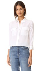 Equipment Cropped 3 4 Sleeve Signature Blouse Bright White