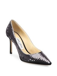 Jimmy Choo Romy Sequined Satin Pumps Black Sequin Ivory Sequin