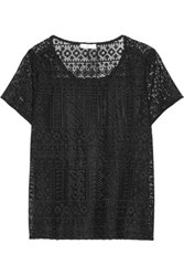 Joie Sevan Crocheted Lace And Silk Chiffon Top Black