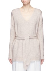 Elizabeth And James 'Barrett' Tie Front Cropped Back Wool Sweater White