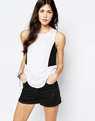 Aryn K Printed Sleeveless Top With Black Panels White