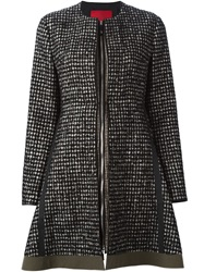 Moncler Gamme Rouge Checked Zipped Flared Coat Black