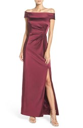 Tahari Women's Off The Shoulder Satin Gown