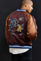 Urban Outfitters Uo Embroidered Dragon Souvenir Jacket Maroon