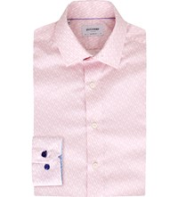 Duchamp Tailored Fit Diamond Print Cotton Shirt Pink