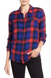 Lucky Brand Women's 'Bungalow Plaid' Button Back Shirt Navy Multi
