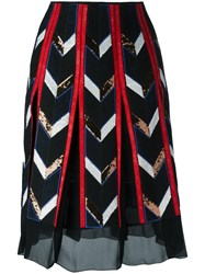 Emilio Pucci Sheer Detailing A Line Skirt Black