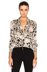 Saint Laurent 70S Floral Blouse In Black White Floral Black White Floral