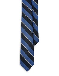 Lauren Ralph Lauren Striped Wool Silk Tie Blue