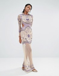 Missguided Embellished Long Sleeve Maxi Dress Nude Purple Beige