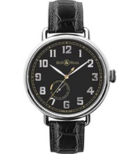 Bell And Ross Brww197herstscr Vintage Ww1 Stainless Steel And Leather Watch