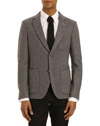 Gant Deconstructed Jacket Grey Jersey Wool Patched Pockets