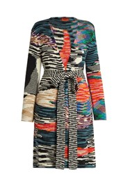 Missoni Open Front Zigzag Intarsia Wool Blend Cardigan Multi