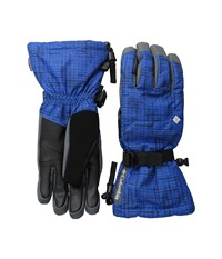 Columbia Whirlibird Ski Glove Super Blue Tweed Plaid Print Extreme Cold Weather Gloves