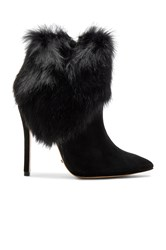 Schutz Henrietta Rabbit Fur Bootie Black