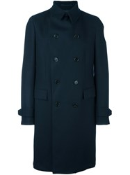 Z Zegna Double Breasted Coat Blue