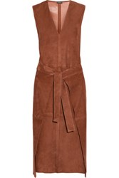 Joseph Max Wrap Effect Suede Dress Chocolate