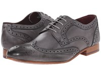 Ted Baker Gryene Light Grey Leather Men's Lace Up Wing Tip Shoes Gray