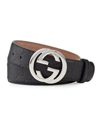 Gucci Interlocking G Buckle Leather Belt Size 36In 90Cm Brown Black