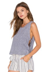 Lanston Side Tie Crop Tank Gray