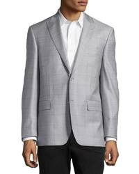 Ike Behar Windowpane Sport Coat Silver Purple Regular Length