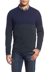 Men's 1901 Colorblock Knit Merino Wool And Cashmere Sweater Navy Peacoat