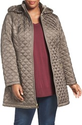 Laundry By Shelli Segal Plus Size Women's Quilted Hooded Coat Mink