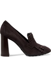 Tod's Fringed Suede Pumps Dark Brown