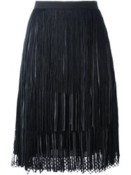 Elie Saab Mesh Hem Pleated Skirt Black