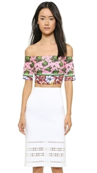 Clover Canyon Floral Collage Off The Shoulder Crop Top Pink