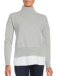 French Connection Cotton Long Sleeve Pullover Light Grey White