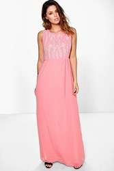 Boohoo Esther Embellished Maxi Dress Coral